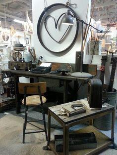 industrial work space vignette vintiques home decor