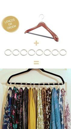 Um cabide e algumas argolas de cortina de box criam a forma perfeita de não só organizar seus lenços, mas também de mantê-los sempre à vista.
