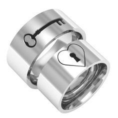 Heart key lock band ring couple band ring wedding by BandRings