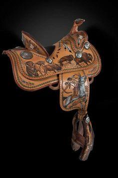 buffalo hunt off side. Barrel Racing Saddles, Barrel Saddle, Barrel Racing Horses, Barrel Horse, Horse Gear, Horse Tips, Horse Halters, Horse Saddles, Leather Art