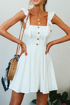 Women White Ruffles Button Decor Casual A Line Dress - White Dress Summer, Casual Summer Dresses, Cute Summer Outfits, Spring Dresses, White Casual Dresses, Sun Dress Casual, Casual Dress Outfits, Elegant Dresses, Spring Clothes