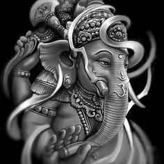 Progress... this design for my bro @kacamata_locs_x_bullslowrider ..he really like ganesha tattoo made by @victorportugal / @victorportugal… Lord Ganesha, Arte Ganesha, Shri Ganesh, Krishna Art, Radhe Krishna, Hanuman, Buddhist Symbol Tattoos, Buddha Tattoos, Ganesh Tattoo