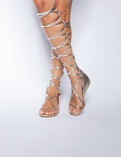 Pixie Market Gold lace up gladiator sandals - Shop the latest Fashion Trends Lace Up Gladiator Sandals, High Sandals, Strappy Sandals, Greek Sandals, Leather Sandals, Shoes Sandals, Grecian Goddess, Nylons, Looks Cool