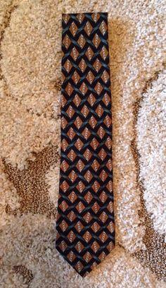 Ermenegildo Zegna Silk Tie Gold Navy Blue Geometric Mens Necktie Italy #ErmenegildoZegna #Tie