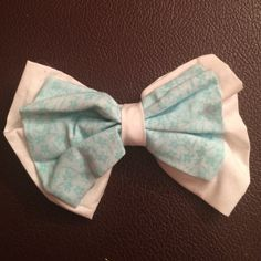 Cute HANDMADE Floral Double Layered Bow ! Cute white & baby blue floral bow ! Accessories Hair Accessories