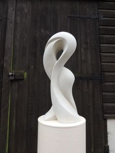 Hand made marble/mineral stone Spiral Twisted /statue/carving #sculpture by #sculptor Jo Ansell titled: 'Morphe- (abstract Flowing Form Carved Contemporary stone staqtue)' #art