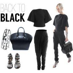 Stylish total black look   Top: Stephanie Coudert  - Pants: Stephanie Coudert  - Bag: Nicolas Theil  - Shoes: Larare - Jewel: On aura tout vu   Kreateurs.com