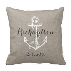 Rustic Vintage Anchor Wedding Monogram Pillow $33.95