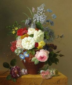 Still Life with Flowers by Arnoldus Bloemers. He painted still life with flowers, which he bred mainly himself.
