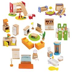 complete wood dollhouse furniture set onestepaheadcom cheap wooden dollhouse furniture