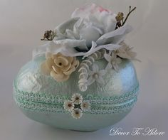 Vintage Inspired Easter Eggs, pastel, spring, floral, ribbon, millinery, Decor To Adore