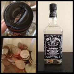 Recycle old jack Daniels bottle to a piggy bank! Just burn a hole in the top!