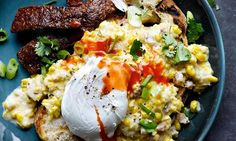 Yotam Ottolenghi's creamed corn on toast with chorizo and poached egg: 'This is a serious contender to creamy scrambled egg as the king of all brunches.'