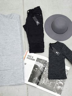 |BLACK&GREY|#DANI   Il look completo lo trovi su danishop.it  DENIM: http://goo.gl/lpwPjs CROP TOP: http://goo.gl/6Acw6P CAPPOTTO: http://goo.gl/9yRCkk CAPPELLO: http://goo.gl/oZOFuz #black #grey #danishop #DANI