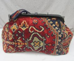 Vintage carpet bag Suffolk England tote overnight Mary Poppins doctors bag antique style oriental rug pattern red 1980s Large big RR on Etsy, $125.00