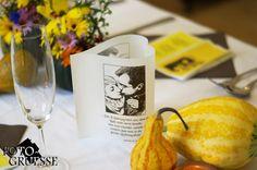 Fotowindlichter in Herzform, herbstliche Tischdeko mit Kürbissen für Hochzeit