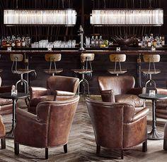 4 Club chairs w/built in bar in sunroom. Cigar Lounge Decor, Bar Lounge, Deco Restaurant, Restaurant Design, Bella Restaurant, Bar Chairs, Club Chairs, Lounge Chairs, Ikea Chairs