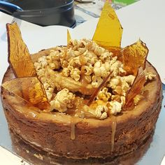 [homemade] Choc-caramel Swirl Cheesecake with Toffee Shards