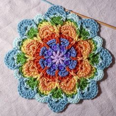 crochet motif Flower Puddles (Motif and Granny) Crochet pattern by Mad Mad me Crochet Mandala Pattern, Crochet Circles, Crochet Motifs, Granny Square Crochet Pattern, Crochet Flower Patterns, Crochet Squares, Crochet Blanket Patterns, Crochet Stitches, Crochet Flowers