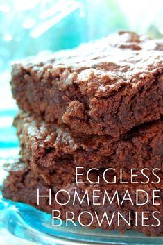 Eggless Brownies Ooey Gooey Brownies - Egg and dairy free!Ooey Gooey Brownies - Egg and dairy free! Egg Free Desserts, Eggless Desserts, Eggless Recipes, Egg Free Recipes, Allergy Free Recipes, Vegan Desserts, Delicious Desserts, Dessert Recipes, Yummy Food