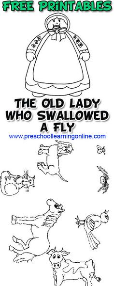 The Old Lady Who Swallowed the Fly circle time activity for kids, demonstration video & FREE Printable for the activity for your kids.  #preschoollearning #preschoolprintables
