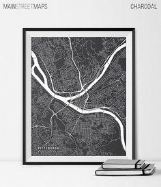 Pittsburgh Map Art Print, Pittsburgh City Map of Pittsburgh Art Poster of Pennsylvania State Map PA University of Pittsburgh Art Grad Gift