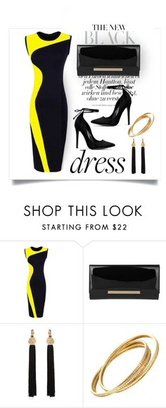 """Two-Tone Dress"" by erina-i ❤ liked on Polyvore featuring Jimmy Choo and Yves Saint Laurent"