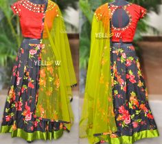 Floral Skirt with rawsilk mirrir work croptop teamed with matching green dupatta made for a client.  10 October 2016