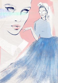 Illustration of Giambattista Valli Fall 14' Couture Collection by Alina Grinpauka
