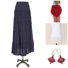 Navy Blue maxi skirt, white lace layering tee, vintage looking earrings and floral headband. So cute!