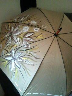 paraguas pintado a mano  textil pintado a mano