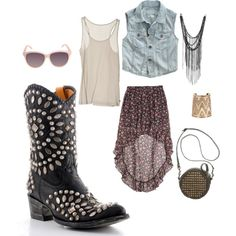 Rocker Chic. One month 'til #SXSW starts! In the upcoming weeks we will be featuring sets that are inspired by the festival!, created by allensboots.polyvore.com with Womens Old Gringo Tino Tino Boots Black via @Allens Boots