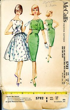 1960s Dress Pattern McCalls 5782 Bust 32 Fitted by CynicalGirl
