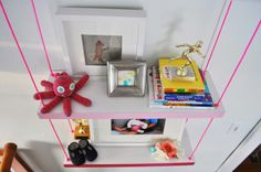 a diy project so good it gets four adjectives - faux hanging pink ombre shelves