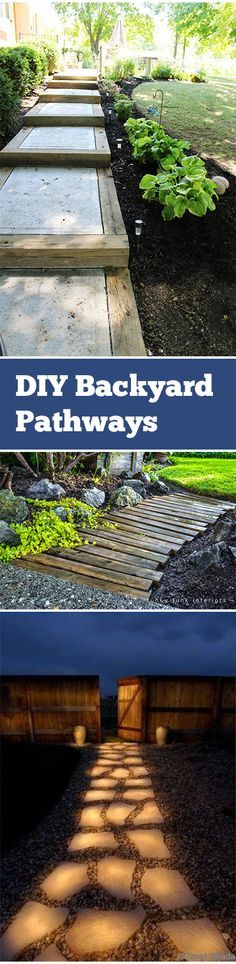 DIY Pathway ideas for landscape. Rock, stone, paver, wood pallets and more landscape pathway ideas, projects and tutorials.
