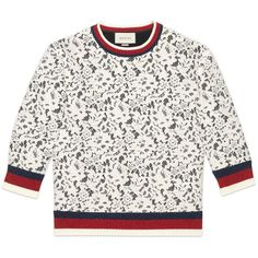 Gucci Jersey And Lace Top ($1,350) ❤ liked on Polyvore featuring tops, collar top, lacy tops, crew neck tops, 3/4 sleeve tops and jersey top