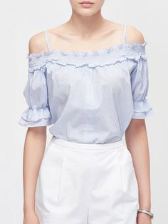 Spaghetti Casual Ruffled Blouse