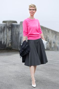 This looks Fab on Angie, because everything looks Fab on @Angie Cox (Angie)  I look at this and think, wow, this would be frumpy on me.  The question becomes, could I restyle it on me, a shorter, not as lithe woman. Not sure.  I still haven't come to terms with banded sweaters/tops.  Of course, I still haven't come to terms with maxi dresses/skirts.