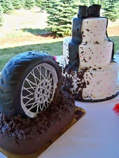 Susie...This is what would happen if I let my man pick the cake- except with a dirt bike tire Note to self: never show Casey this cake! NEVER!!!
