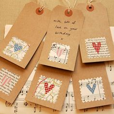 six handmade fabric heart gift tags by hannah shelbourne des Handmade Gift Tags, Paper Tags, Card Tags, Cardmaking, Christmas Crafts, Gift Wrapping, Paper Crafts, Paisley Design, Paisley Pattern