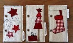 Creative: December Daily 2011 - fabric pages Christmas Makes, Noel Christmas, Christmas Gift Tags, Handmade Christmas, Christmas Ornaments, Christmas Decorations, Christmas Applique, Christmas Sewing, Christmas Projects