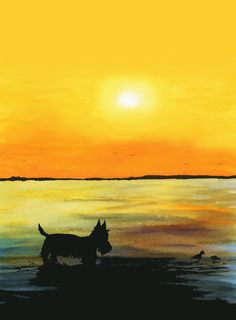 Scottie Dog at Sunset Lustre Art Print, printed on Fine quality photographic ink-jet lustre paper ,Photo Lustre 300gsm. This luxury heavyweight