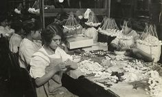 Inside a Manhattan flower factory, c. 1910 Photo: Lewis Wickes Hine, Collection of New York Public Library