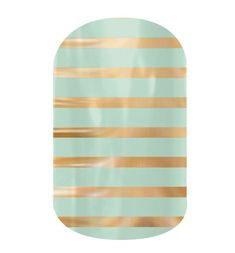 Mint Green and Gold Horizontal Pinstripe  nail wraps by Jamberry Nails abbysnails.jamberrynails.com