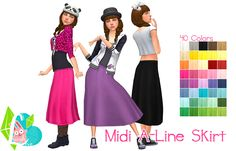"Midi A-Line Skirt - A longer skirt ruthlessly torn from the GT ""SkirtBoat"" outfit, I gave it a lower waist line and flattened the front a bit so that most tops will work with it. [[MORE]]Information: • Made for The Sims 4. • 40 of Anna's (+ a few..."