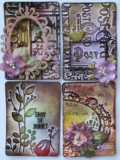 by Susan Smit: ATC CARDS. using Tim Holtz embossing folders and inks. For My handmade greeting cards visit me at  My English Personal blog: http://stampingwithbibiana.blogspot.com/