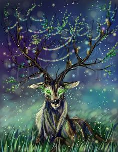 Celtic god Cernunnos as a stag (rather a human)-the lover of the moon, ruler of all animals and looks after all land and woodlands.