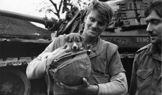 American marines with their pet dog in Vietnam, 1968