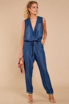 Happiest With You Dark Chambray Jumpsuit Chambray Jumpsuit, Jumpsuit Outfit, Classy Outfits, Casual Outfits, Fashion Outfits, Cardigan Sweaters For Women, Cardigans For Women, Blouse Models, Business Dresses