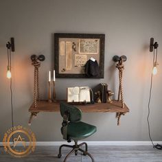 New Industrial Rope & Pipe Suspended Wood Wall by StyleOfAges